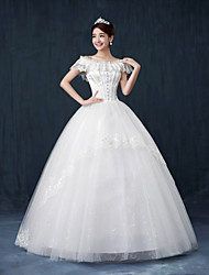 Ball Gown Wedding Dress Floor-length Bateau Lace with Crystal / Sequin