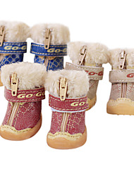 Dog Shoes & Boots Fashion Red / Blue / Brown Winter PU LeatherDog Shoes
