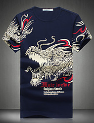 Men's Fashion Chinese Dragon Print Round Collar Slim Fit Short-Sleeve T-Shirt