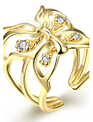 18K Gold Plated Butterfly Crystal Ring Women's Fashion Adjustable(US6-8) Statement Ring(Color:Gold)