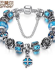 BAMOER Charm Bracelet for Women With Sapphire Created Blue Gemstone Luxury Pulseras