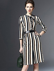 Women's Casual / Day Striped A Line Dress , Stand Above Knee Spandex