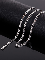 Men's Classic  Figaro Titanium Steel Platinum Chain Necklace ,Fine Jewelry