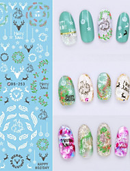 Big Page Water Transfer Printing Feather Fawn Nail Stickers