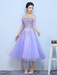 A-Line Bateau Neck Tea Length Tulle Formal Evening Dress with Ruffles