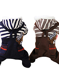Dog Hoodie / Clothes/Jumpsuit Gray / Coffee Dog Clothes Winter Jeans / Stripe Fashion