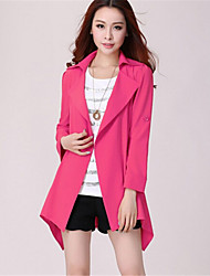 Women's Solid Blue / Pink / Black / Brown / Green / Yellow Cloak/Capes , Street chic Shirt Collar Long Sleeve