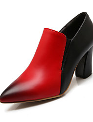 Women's Shoes Chunky Heel Pointed Toe Heels Dress Black / Red