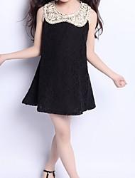 Robe Fille de Polyester Eté / Printemps Noir / Blanc