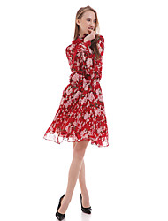 Women's Casual/Daily Sheath Dress,Floral Ruff Collar Above Knee Long Sleeve Pink / Red Polyester Summer