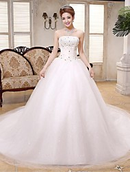 Ball Gown Wedding Dress Chapel Train Strapless Lace / Satin / Tulle with Sequin / Bow / Crystal