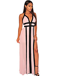 Women's  Blush Halter Slit Maxi Dress