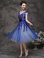 A-Line Scoop Neck Tea Length Tulle Cocktail Party Homecoming Dress with Ruffles