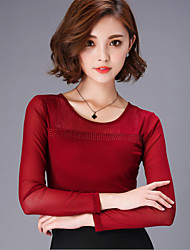 Women's Solid Red / Black / Purple Blouse , Round Neck Long Sleeve