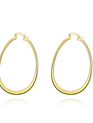 Women's 18K Gold Plated Hoop Earrings Trendy Oval Circle Earrings(Color:Gold)