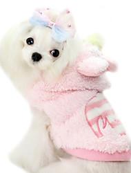 Dog Hoodie / Shirt / T-Shirt Red / Blue / Pink Winter Bowknot / Cartoon Fashion