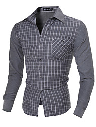 Men's Long Sleeve Solid Fit Plaids Dress Shirt,Cotton / Polyester Work / Formal Solid