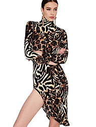 Women's Sexy Vintage Leopard Bodycon Slim All Match Classics Turtleneck Long Sleeve Asymmetrical Dress