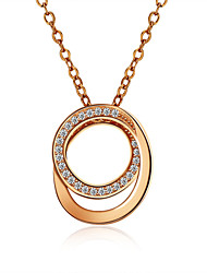 925 Sterling Silver Jewelry Rose Gold Necklace Pendants Jewelry Double Circle