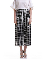 Women's Check Black Wide Leg Pants,Casual / Day