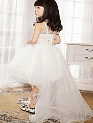 Girl's White Dress , Ruffle Acrylic All Seasons