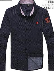 Men's Long Sleeve Shirt , Cotton Casual Color Block