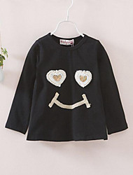 Girl's Black Dress,Print Cotton Fall / Spring