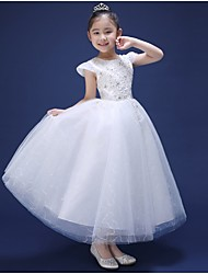 A-line Ankle-length Flower Girl Dress - Tulle Short Sleeve Jewel with