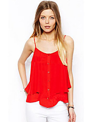 Women's Summer Tanks,Solid One Shoulder Sleeveless Red / Black Polyester Thin