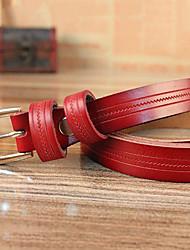 Women Calfskin Skinny Belt , Vintage / Casual Alloy
