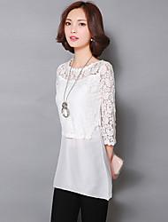 Women's Solid White / Black Shirt , Round Neck ¾ Sleeve