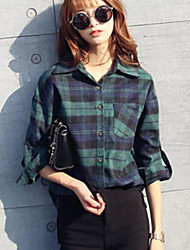 Women's After Short Before Long Medium Style Loose Long Sleeve  Checked Women's Blouses