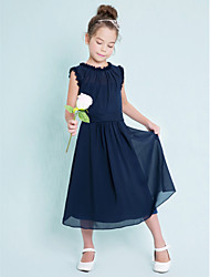 Tea-length Chiffon Junior Bridesmaid Dress-Dark Navy Sheath/Column Jewel