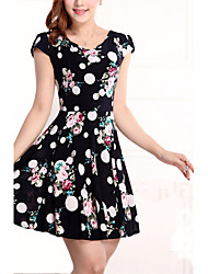 Women's Vintage / Casual / Day Polka Dot / Floral Plus Size / Skater Dress , Round Neck Knee-length Rayon / Polyester