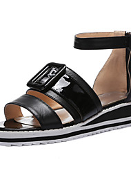 Women's Spring / Summer Wedges / Gladiator / Open Toe Cowhide Casual Wedge Heel Black / Yellow / White