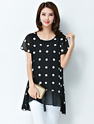 2016 Summer New Women Polka Dot Loose Chiffon Shirt