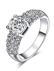 HKTC White Gold Plated 1.5ct Cubic Zirconia with Rhinestones Studded Wedding Ring