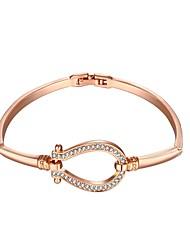 Fashion  Women's Rhinestone Rose Gold Plated Tin Alloy Chain & Link Bracelet(Rose Gold)(1Pc)