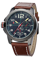 Men watch Quartz Waterproof Sports Watch Calendar Genuine Luminous Leather Wristwatch (Assorted Color) Wrist Watch Cool Watch Unique Watch