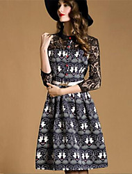 Women's Street chic Print A Line Dress , Stand Knee-length Polyester