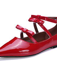 Women's Shoes Cowhide / Patent Leather Flat Heel Fashion Boots / Pointed Toe Flats Wedding / Office & Career