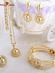 WesternRain Charming Lady Gold Plated Jewelry Elegant Fashion Bridal Wedding Dress Accessories Costume Jewelry Set