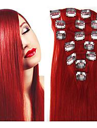 """15 """"18"""" 20 """"22 'Länge #red 7pieces Klipps in der Menschenhaarverlängerungen gerade 70g-80g für Frau cabelo humano"""