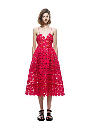 Women's Cute A Line Dress,Solid V Neck Midi Sleeveless Red / White Rayon Spring