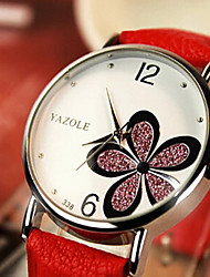 Mulheres Relógio de Moda Quartzo Couro Banda Flor Preta Branco Vermelho Marrom Branco Preto Marron Vermelho