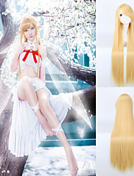 Wigs Cosplay Anime 100cm Long Length Yellow Color Straight Synthetic Wig Heat Resistant  Perruque Lolita Wigs