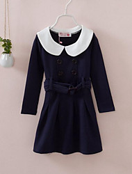 Girl's Blue Dress , Dresswear Cotton Spring / Fall