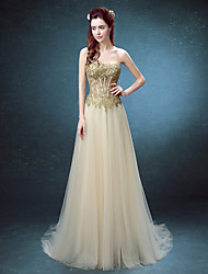 Formal Evening Dress - Ruby / Champagne Ball Gown Strapless Floor-length Lace / Tulle