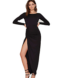 Women's Sexy / Beach Solid Plus Size / Sheath Dress , Round Neck Maxi Polyester