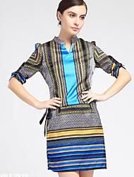 Women's Vintage Print Loose Dress , V Neck Above Knee Polyester